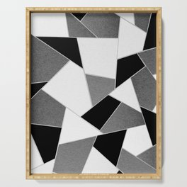 Gray Black White Geometric Glam #1 #geo #decor #art #society6 Serving Tray