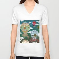 hot air balloons V-neck T-shirts featuring Hot Air Balloons I by minouette