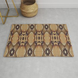 Khaki Tan Orange Dark Brown Mosaic Pattern Rug