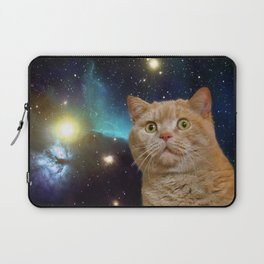 Cat staring at the universe Laptop Sleeve