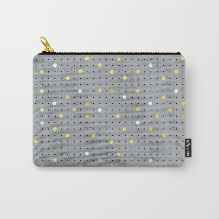 Pin Points Grey, Gold and White Carry-All Pouch