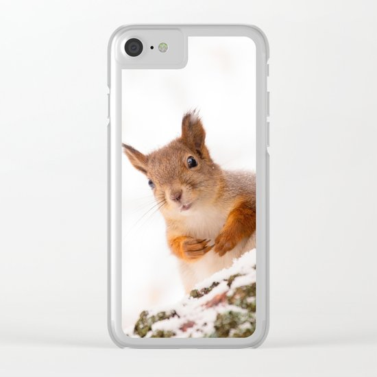 Squirrel in first snow Clear iPhone Case