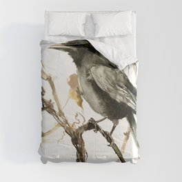 Crow in the Fall, Tribal Crow Raven art Comforters