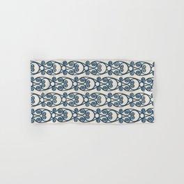 Modern Farmhouse Scroll Ikat Pattern - Cream Navy Hand & Bath Towel