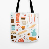 baking Tote Bags featuring baking pattern by olillia