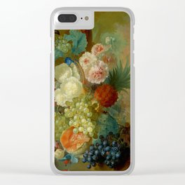 """Jan van Os """"Still life of peonies, a cock's comb and morning glories"""" Clear iPhone Case"""