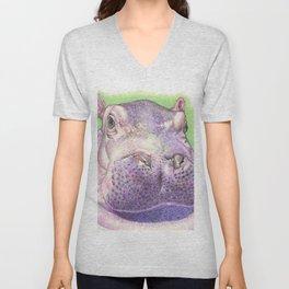 Purple Hippo Unisex V-Neck