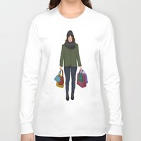 shopping Long Sleeve T-shirts featuring christmas shopping by Lenas 9th Art