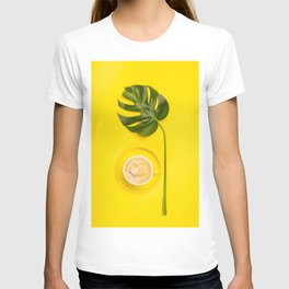 cup of coffee and tropical plant on yellow background T-shirt