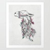 llama Art Prints featuring Llama by LouJah