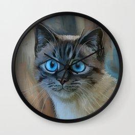 Looking for Love - sad kitty cat portrait Wall Clock