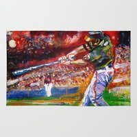 sport Area & Throw Rugs featuring sport art -baseball by yossikotler