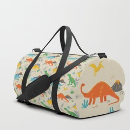 Jurassic Dinosaurs in Primary Colors Duffle Bag