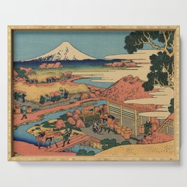 Hokusai Katsushika - The tea plantation Of Katakura In the Suruga province Serving Tray