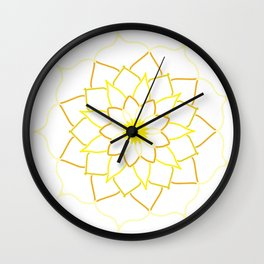 Yellow Mandala Flower Wall Clock