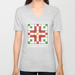 Sudoko design Gift for Fans of the Japanese Puzzle Game Unisex V-Neck