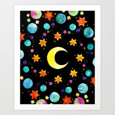 Moon and Stars Cosmic Mandala Art Print