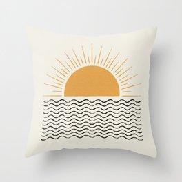 Sunrise Ocean -  Mid Century Modern Style Throw Pillow