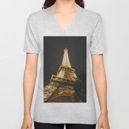 Eiffel Tower at Night in the City That Never Sleeps Unisex V-Neck