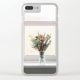 Flowers in a window Clear iPhone Case
