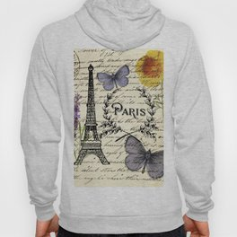 french botanical print purple butterfly lavender floral paris eiffel tower Hoody