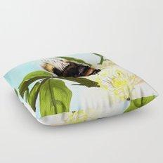 Bee on flower 4 Floor Pillow