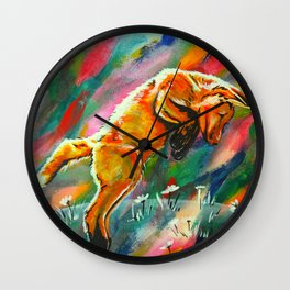 Frisky Fox in Flowers Wall Clock