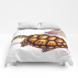 Box Turtle - Pink Butterfly Comforters