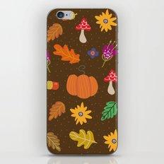 Autumn Fall Leaves Flower Pattern iPhone Skin