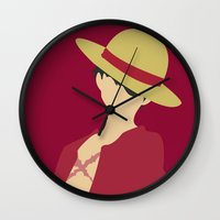 luffy Wall Clocks featuring Luffy by Polvo