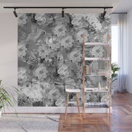 PARROTS MAGNOLIAS ROSES AND HYDRANGEAS TOILE PATTERN IN GRAY AND WHITE Wall Mural