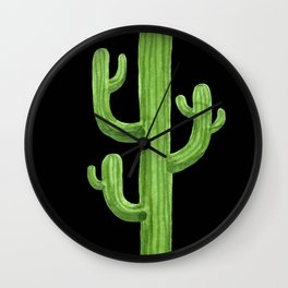 Green Cactus on Black Wall Clock