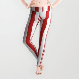 Red and White Candy Cane Stripes Thick and Thin Vertical Lines, Festive Christmas Leggings