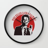laura palmer Wall Clocks featuring Who killed Laura Palmer twin peaks by Buby87
