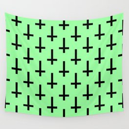 Black and Green Inverted Cross Pattern Wall Tapestry