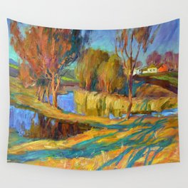 Spring in the village Wall Tapestry