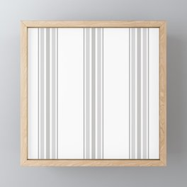 Farmhouse Ticking Stripes in Gray on White Framed Mini Art Print