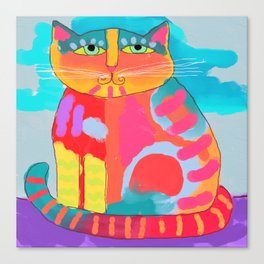 Pretty Kitty Abstract Digital Cat Painting Canvas Print