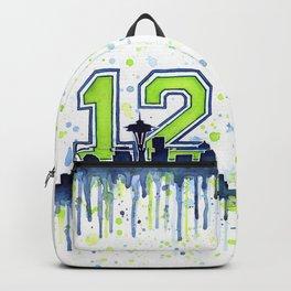 Seattle 12th Man Art Skyline Watercolor Backpack