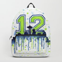 Seattle 12th Man Art Skyline Watercolor Backpack