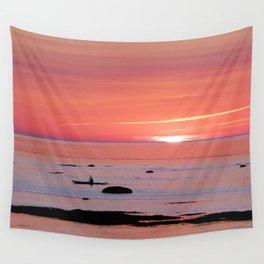 Kayaker and Bird at Last Light Wall Tapestry