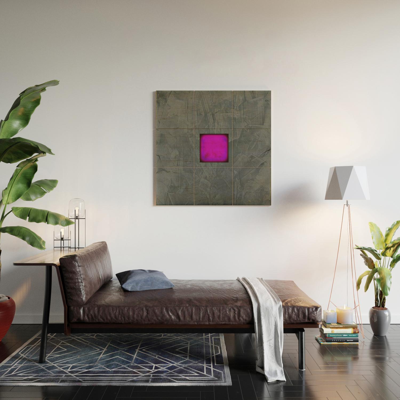 Slate Gray Lavender Fuschia Modern Art Wood Wall Art By Corbinhenry