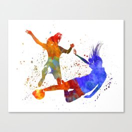 Women soccer players 02 in watercolor Canvas Print
