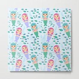Mermaid with blue and pink hair cute kawaii girl Metal Print