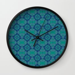 Jade and Blue Repeating Aurora Pattern Wall Clock