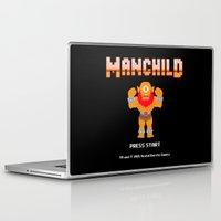 8bit Laptop & iPad Skins featuring 8Bit Manchild by manchildtees.com