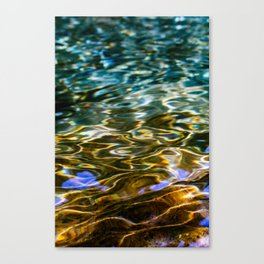 Prismatic Waves in Blue Green Copper and Gold Canvas Print