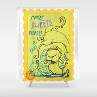 lama Shower Curtains featuring lama goloso di dolci by Octofly Art