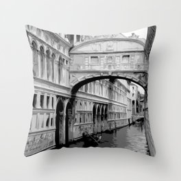 The Bridge of Sighs in Venice Italy Travel Throw Pillow