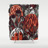 mushrooms Shower Curtains featuring Mushrooms by pam wishbow